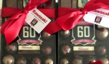 Chocolate gift boxes in branded colours