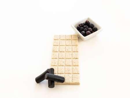 Liquorice blackcurrant chocolate bar